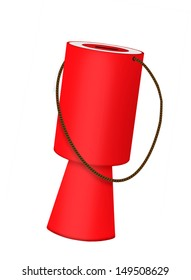 Red charity collecting box isolated - fundraising