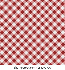 Red checkered fabric tablecloth background or texture