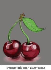 Red cherries digital painting illustration