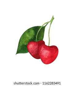 red cherry berry watercolor, juicy element for design logo, brand, package, tag , product