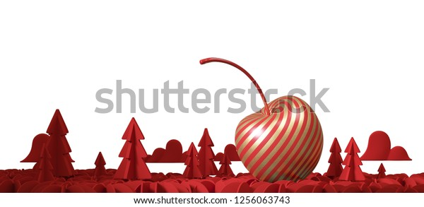 red cherry with gold stripe and red Christmas tree on white background. Decoration for Christmas and new year festival. 3d rendering illustration