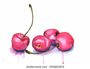 Red cherry on white background watercolor painting