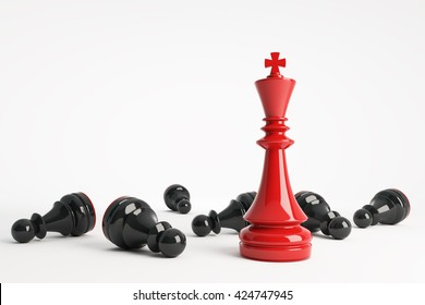 Red chess king win vs black pawns. Business concept of leadership. Chess game over. 3d rendering.