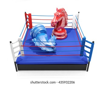 Red chess knight wins over blue chess knight on boxing ring, strategic competition concept, glory and victory concept, winner and loser concept, 3D rendering