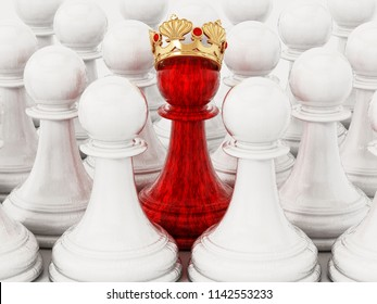 Red chess pawn with golden crown standing out among white pawns. 3D illustration.