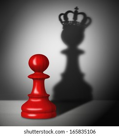 Red chess pawn with the shadow of a king.