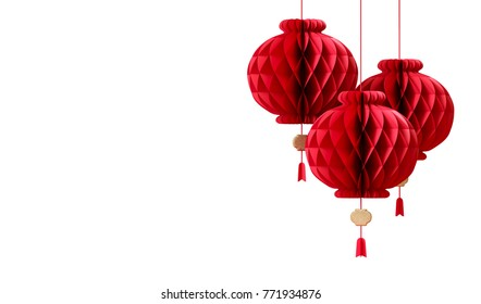 red Chinese paper lantern with gold element on white background. Decoration for Chinese new year. 3d rendering illustration