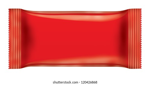 Red chocolate bar package isolated on white background. 3D