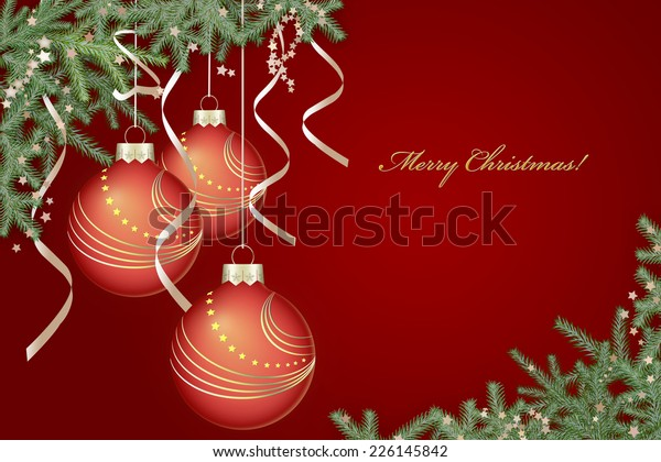 Red Christmas background with red balls and fir tree branches.