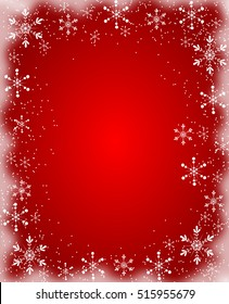 Red christmas background with frame of white snowflakes
