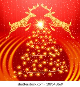 Red christmas background with golden tree and reindeer