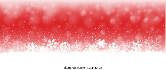red  christmas background illustration with snow and snowflakes
