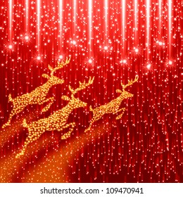 Red christmas background with reindeer