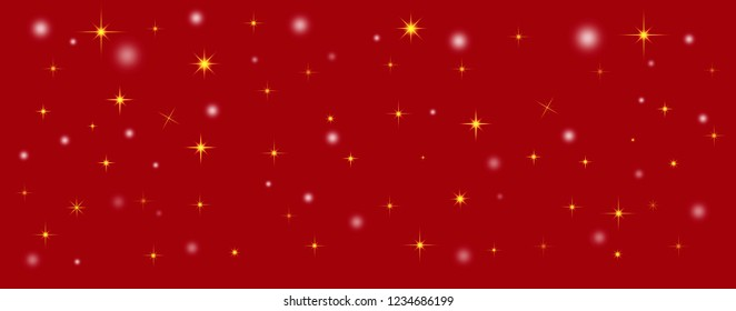 Red christmas background with sparkling stars