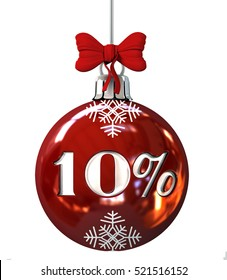 Red Christmas Ball with 10% discount . Seasonal Sale Concept. 3d Rendering Isolated on White Background.