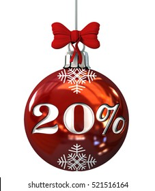 Red Christmas Ball with 20% discount . Seasonal Sale Concept. 3d Rendering Isolated on White Background.
