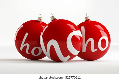"Red Christmas balls with the inscription ""ho ho ho"" isolated on a white background - 3d illustration"