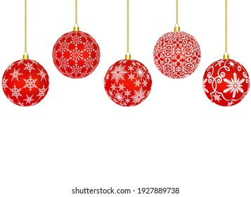 red christmas balls with a pattern of snowflakes on a white background