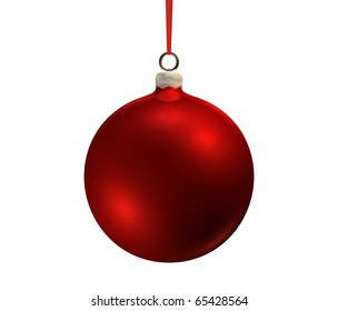 f6242a1f609e Red christmas bulb on white background, isolated 3d render