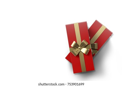 Red christmas gift boxes on isolated white background. 3D rendering.