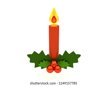Red Christmas holy candle with holly berries table arrangement. 3D style illustration isolated on white background. Merry Christmas and Happy New Year