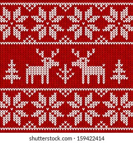 Red Christmas knit with deers