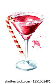 Red christmas martini with candy cane. Watercolor hand drawn illustration, isolated on white background