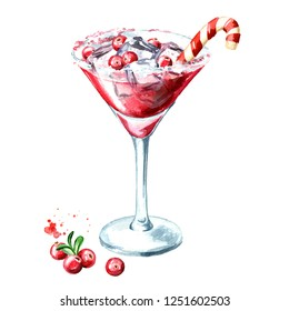 Red christmas martini cocktail with cranberry and ice cubes. Watercolor hand drawn illustration, isolated on white background