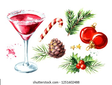 Red christmas martini cocktail elements set. Watercolor hand drawn illustration, isolated on white background
