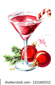 Red christmas martini with lollipop or candy cane and xmas balls with fir branch. Watercolor hand drawn illustration, isolated on white background