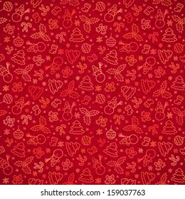 Red Christmas paper doodle seamless pattern