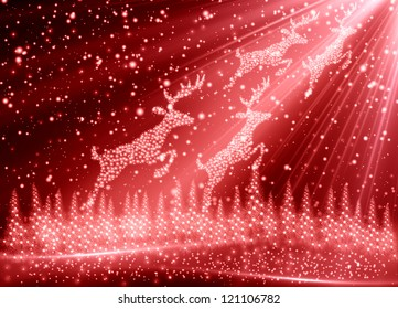 red Christmas tree with reindeer