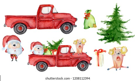 Red Christmas truck creator with pig, santa and gifts New year hand drawn watercolor illustration