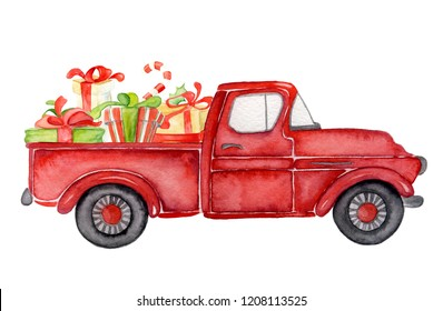 Red Christmas truck with and gifts New year hand drawn watercolor illustration