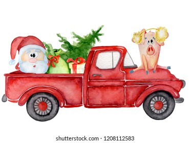 Red Christmas truck with pig, santa and gifts New year hand drawn watercolor illustration