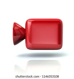 Red cinema camera icon 3d illustration on white background