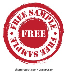 Red Circle Grungy Free Sample Stamp, Sticker, Icon or Label Isolated on White Background