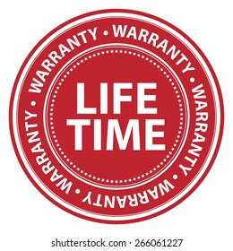 Red Circle Lifetime Warranty Badge, Label, Sticker, Banner, Sign or Icon Isolated on White Background