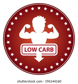 Red Circle Low Carb Sticker, Label or Icon Isolated on White Background