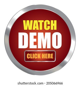 Red Circle Metallic Watch Demo Click Here Label, Sign, Sticker or Icon Isolated on White Background