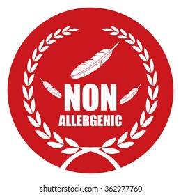 Red Circle Non Allergenic, Healthcare Product Label, Infographics Flat Icon, Sign Isolated on White Background