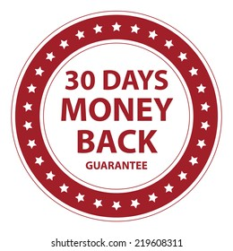 Red Circle Vintage Style 30 Days Money Back Guarantee Icon, Sticker or Label Isolated on White Background