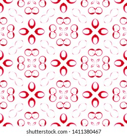 Red circles seamless pattern. Hand drawn watercolor ornament. Admirable repeating design. Uncommon fabric cloth, swimwear design, wallpaper wrapping.