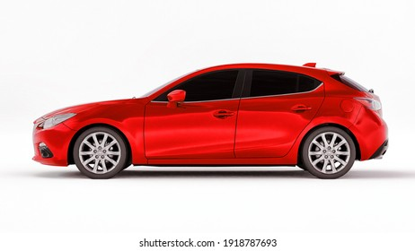 Red city car with blank surface for your creative design. 3D rendering