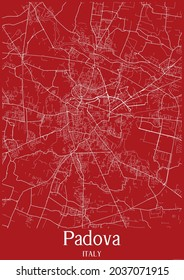 Red city map of Padova Italy