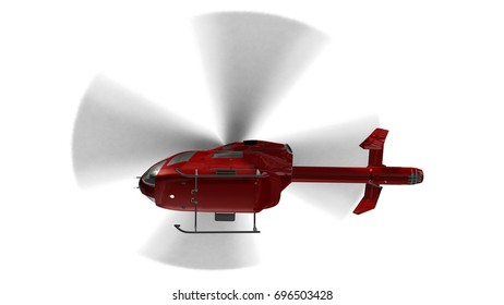 Red civilian helicopter in flight isolated on a white  background - 3d render