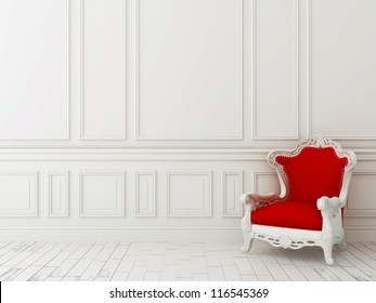 Red classic armchair against a white wall and white floor