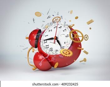 Red clock broken. 3d model