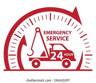 Red Clock Sign and Emergency Service 24Hour Tow Car Icon, Badge, Label or Sticker Isolated on White Background