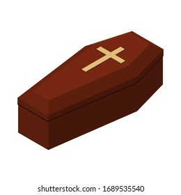 Red closed classical expensive coffin with a cross a wooden casket isometric 3d render. Raster illustration